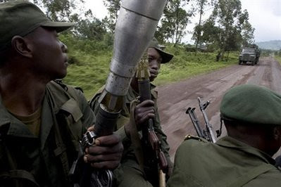 Congolese soldiers patrol through the eastern Democratic Republic of Congo (DRC). The upsurge in rebel attacks in 2008 had created the conditions for the possible intervention of the US and EU. by Pan-African News Wire File Photos