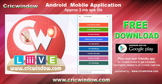 Cricwindow Mobile App free on Google play store