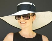 Wide Brim Kentucky Derby Hat. Cream Off White & Black. Special Occasion Hat. Formal Hat. Ascot Hat. Dressy Hat