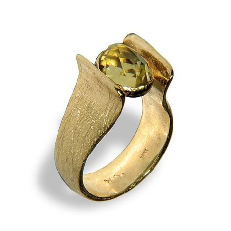 Harp Gold Ring, Lemon Quartz Stone, Wedding Ring