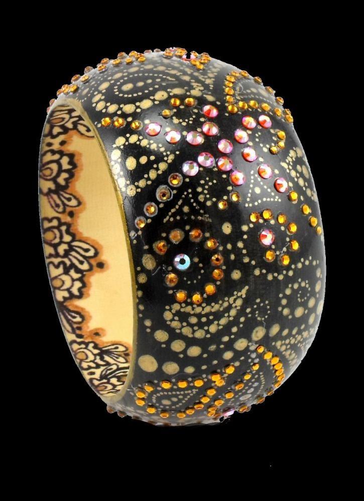 Twilight Paisley, Jewelry, bracelet cuff black smokey topaz jewel