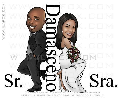 caricatura corpo inteiro, sr e sra Smith, casal negro, noivinhos Cintia e Vitor