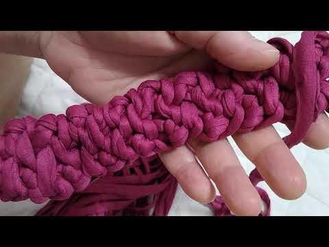 Crochê...Três laçadas, três pontos puxo tudo...tiara...ou cinto... Ou alça para bolsa