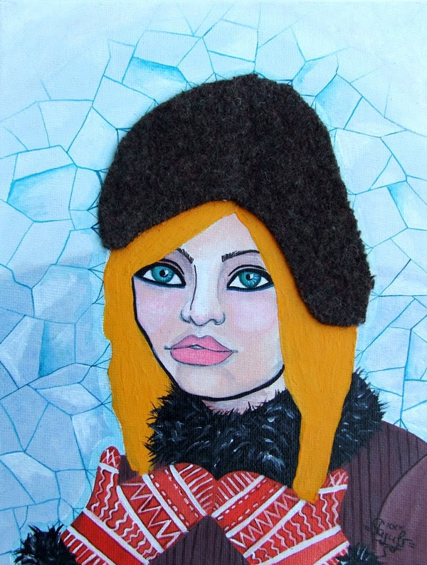 """Acrylic Original Painting- Collage- """"Hot hat"""""""