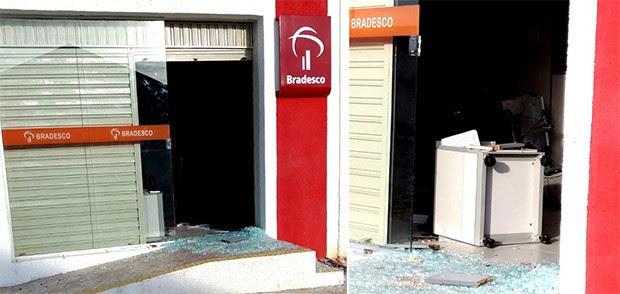 Com a força da explosão, o terminal, as vidraças e parte do mobiliário da agência foram destruídos. (Foto: Jalisson Ferreira/Assú Notícia)
