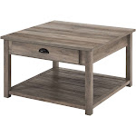 June Rustic Farmhouse Square Coffee Table with Lower Shelf Gray Wash - Saracina Home