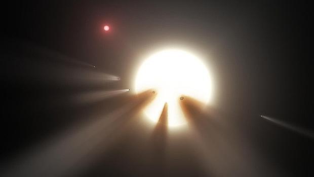 Una cascada de cometas frente a una estrella