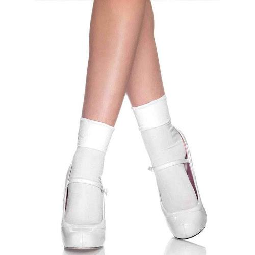 Leg Avenue White Satin Cuff Anklet Socks