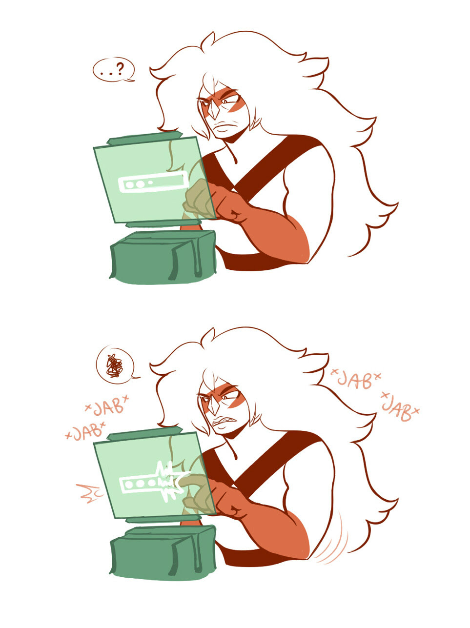 Modern GemTechnophobe Jasper (and IT Peridot) anyone? I wonder if this is why Peridot is so irritated all the time… Bonus: STOP BREAKING MY THINGS ARE YOU FROM THE PAST??