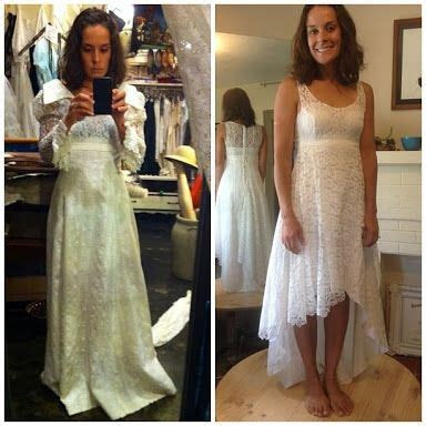 Mom's old wedding dress before and after   Refashion   Old