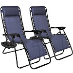 Best Choice Products Adjustable Zero Gravity Lounge Chair Recliners with Cup Holders, Blue - 2 pack