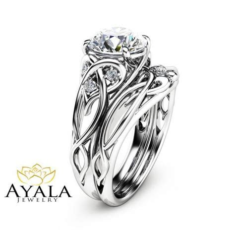 14K White Gold Unique Engagement Rings 2 Carat Diamond