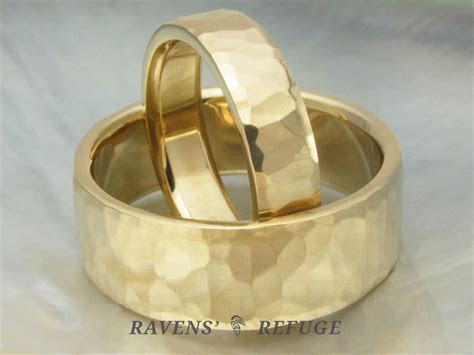 handmade wedding bands ? hammered gold rings   Ravens' Refuge