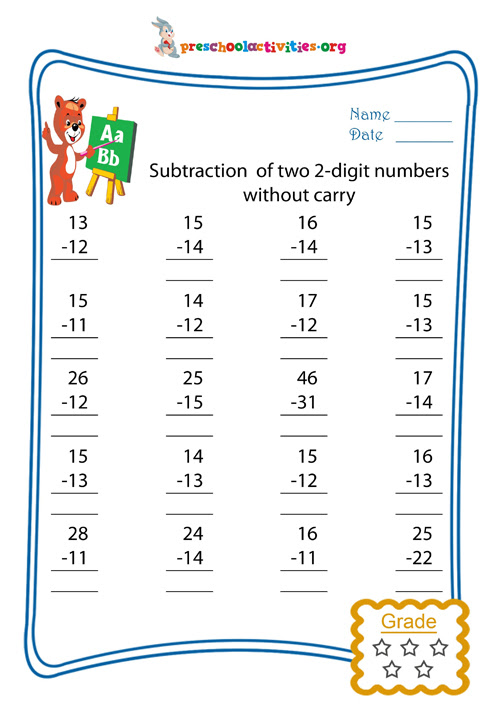 Subtraction of two 2-digit numbers without carry - Free worksheet download | Preschool activities