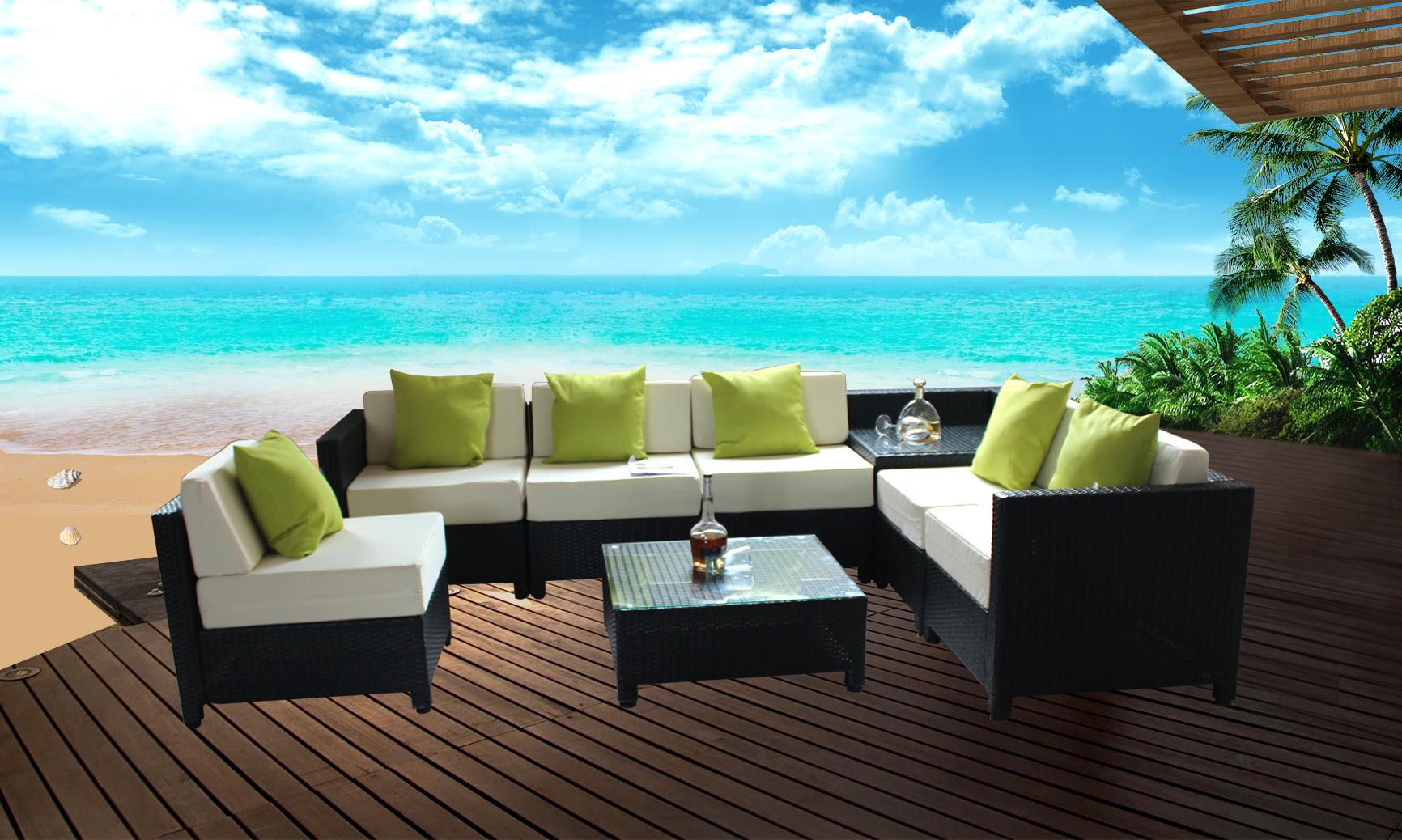 MCombo 8pc Black Wicker Patio Sectional Outdoor Sofa ...