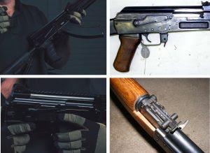 Na foto acima podemos ver uma comparação de algumas das mudanças citadas. Nas fotos da parte de cima podemos ver a diferença entre o gatilho mais reto do novo AK 400 e o gatilho mais curvado do AK 47. Na foto debaixo vemos a alça de mira que agora se encontra na parte de trás da arma, em comparação à maça de mira entre o handguard e o receiver do AK 47.