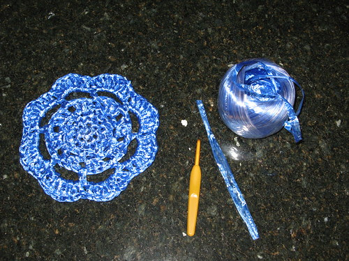 Crocheted Plastic Raffia Doily