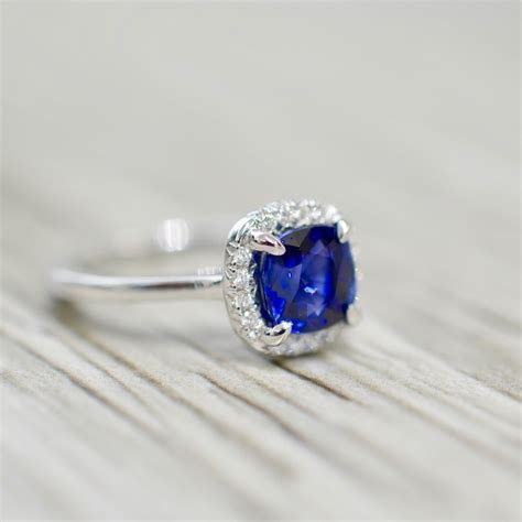 Cushion Sapphire in a French Pavé Ultra Petite Solitaire