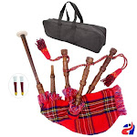 Toy Playable Baby Bagpipe Royal Stewart Cover, Free Bag and Reeds Child Gift