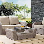 Crosley ST Augustine Outdoor Wicker Coffee Table in Weathered White