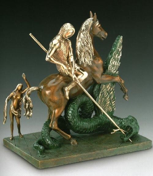 San Jorge y el Dragón.  Escultura de bronce de Salvador Dalí