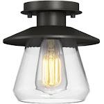 Globe Electric 64846 1 Light Semi-Flush Mount Bronze Pendant Light Fixture