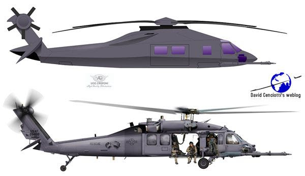 Concept artwork depicting the stealthy Black Hawk helicopter that brought U.S. Navy SEALs to Osama bin Laden's compound in Pakistan on May 1 (California Time).