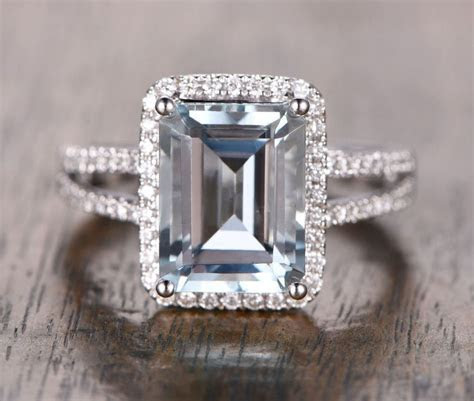 Emerald Cut Aquamarine Engagement Ring Pave Diamond