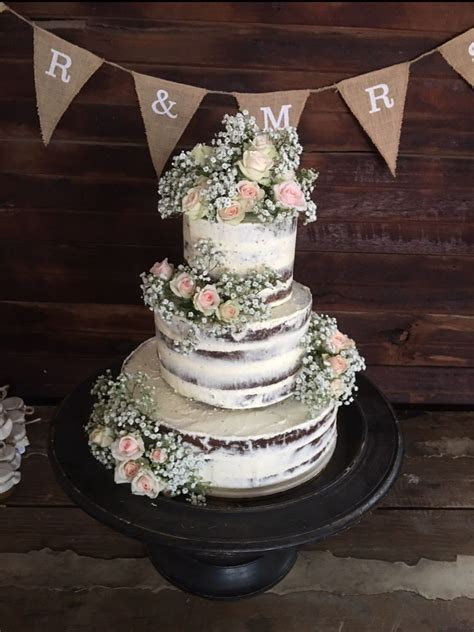 Naked wedding rustic cake rose roses pink apricot farm