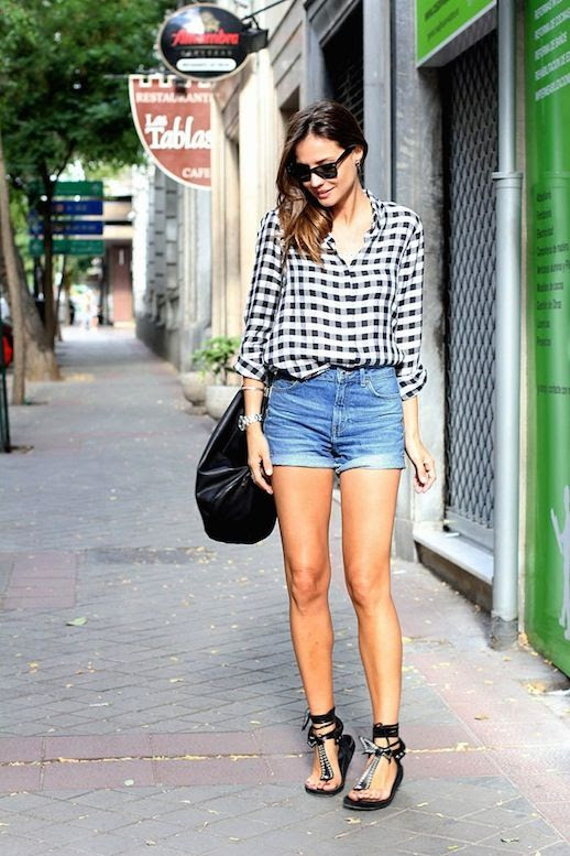 Le Fashion Blog -- Gingham Button Down Shirt, Cuffed Denim Shorts and Isabel Marant Edris Sandals -- Via Silvia Of Lady Addict photo Le-Fashion-Blog-The-Gingham-Button-Down-Shirt-Cuffed-Denim-Shorts-Isabel-Marant-Edris-Sandals-Via-Silvia-Of-Lady-Addict.jpg
