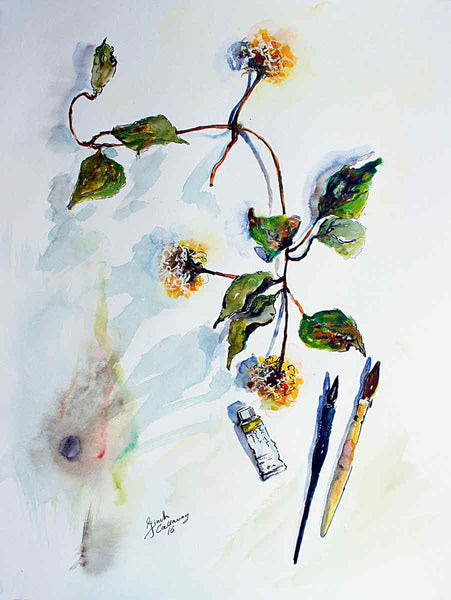 Clematis Seed Pods and Artist Tools Still Life Original Watercolor and Ink