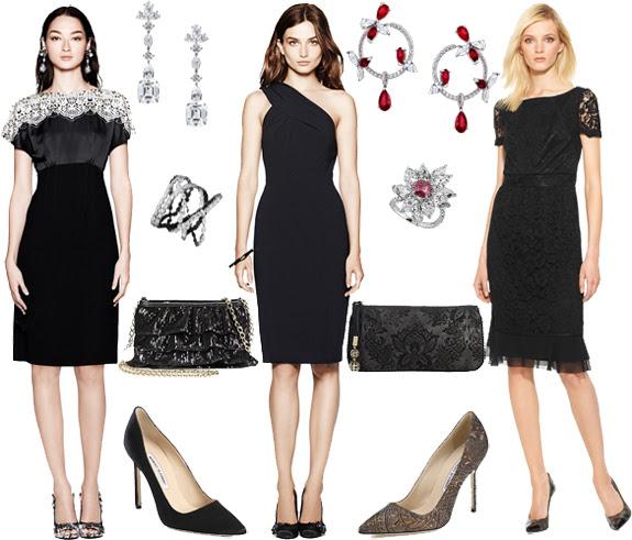 Accessorize long black evening dress