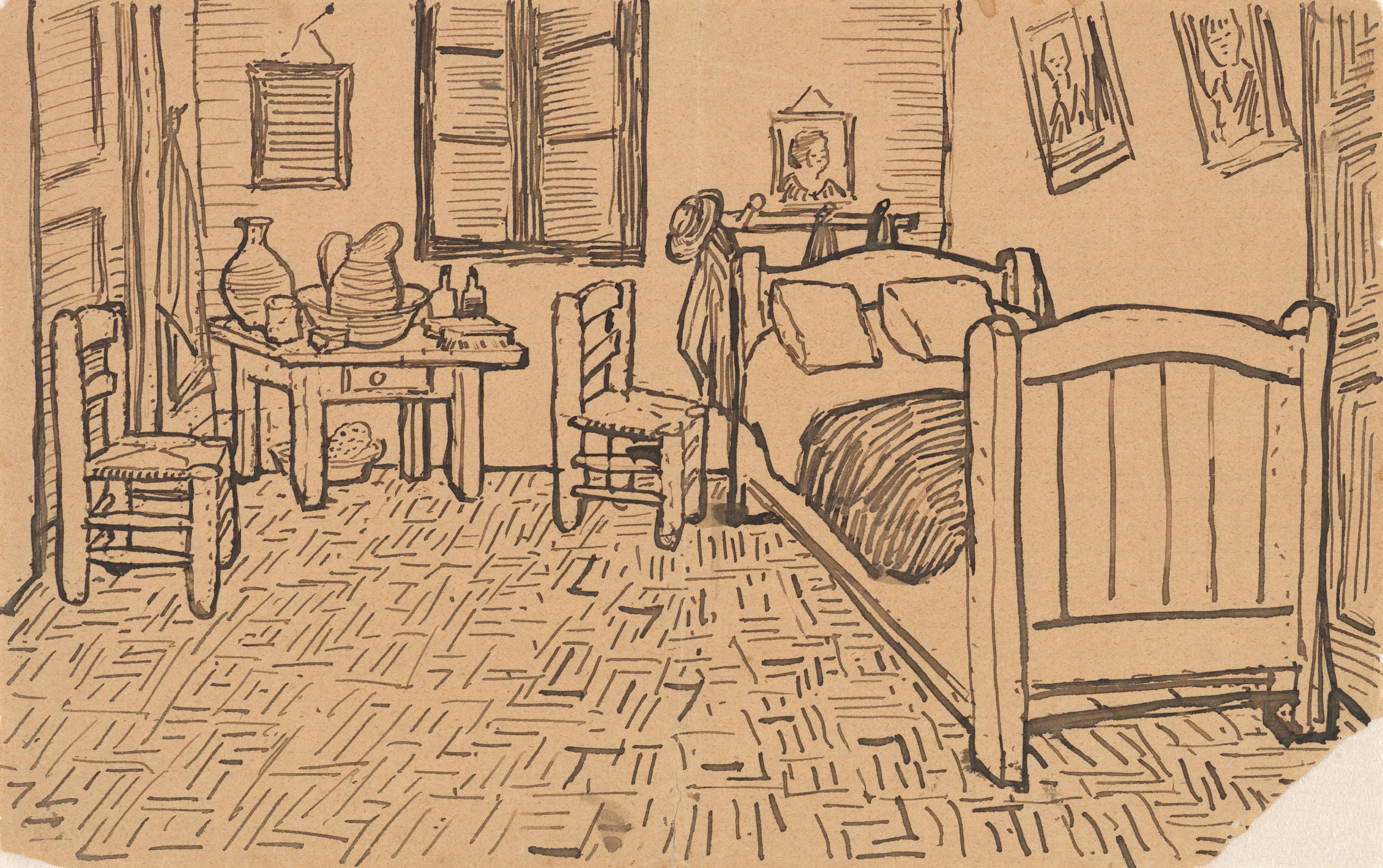 File:Vincent van Gogh - Vincent's Bedroom in Arles - Letter Sketch October 1888.jpg