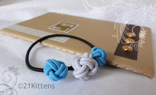 White and Blue Hairband by 21Kittens on Etsy