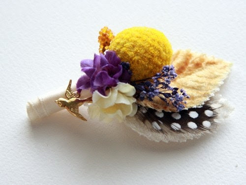 RESERVED for hafeather17 - Custom Order - 4 of 8 pieces - Wedding boutonniere, silk flower, feather, mustard yellow, brass bird charm