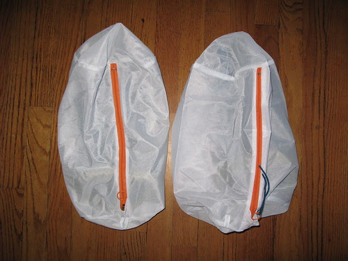 in separate garment bags