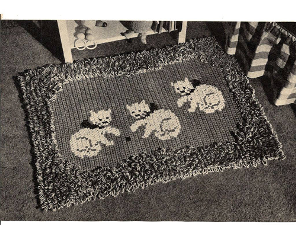 Vintage Area Rug Crochet Pattern, Three Kittens