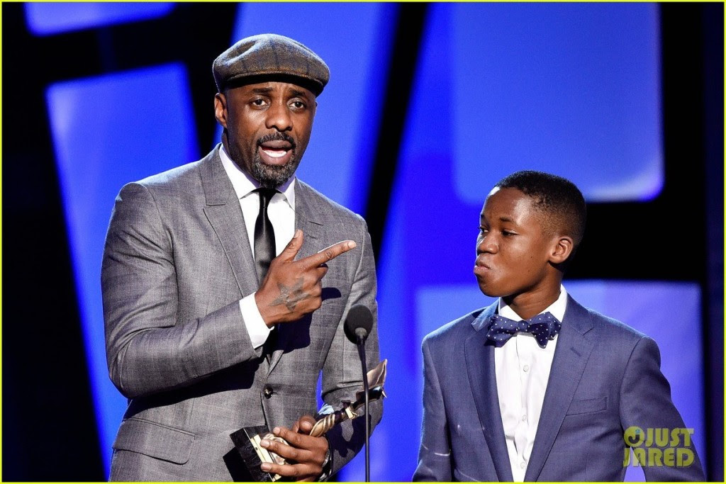 Abraham Attah and Idris Elba, the two main characters in the Beasts of No Nation movie, at an awards ceremony
