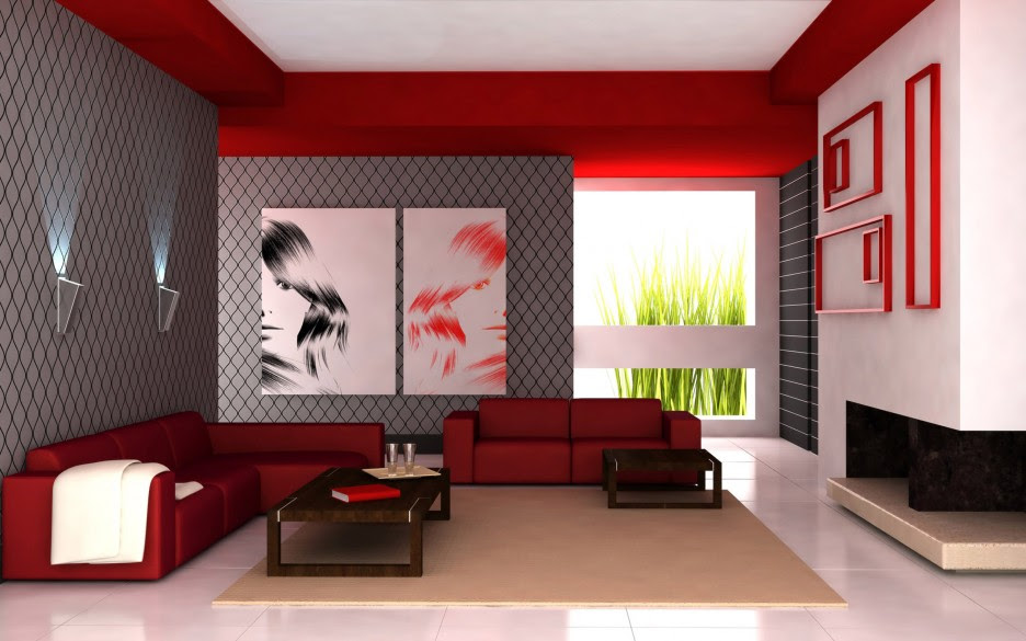 Grey Color Combined With Red Sofas In Spacious Living Space With Cream