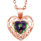 "0.96 Ct Heart Shape Green Mystic Topaz White Topaz 18K Rose Gold Plated Silver Pendant with 18"" Chain"