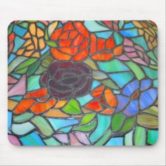 Stained Glass Floral Mousepad Mousepad