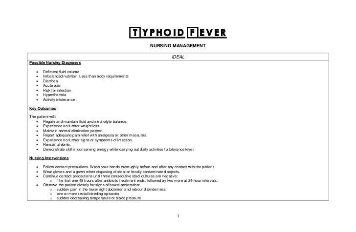 Typhoid fever nursing, medical, surgical managements