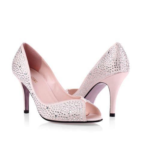 Mid Heel Peep Toe Rhinestones Champagne Discount Prom