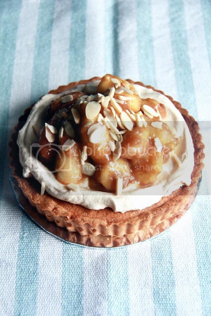 dessert - almond tart with sauteed bananas with rum and cinnamon