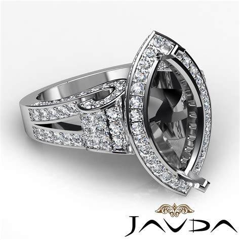 Marquise Diamond Engagement Ring 18k W Gold Vintage Halo
