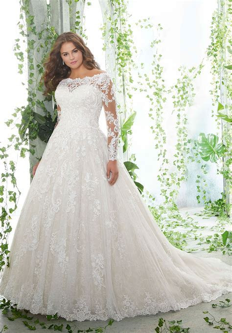 Morilee Bridal Alencon Lace over Tulle with Embroidered