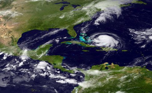 Hurricane Joaquin is seen churning in the Caribbean Sept. 30, 2015. Joaquin was upgraded to a category 1 hurricane early on September 30. The exact track has yet to be determined, but there is a possibility of landfall in the U.S. anywhere from North Carolina to the Northeast.