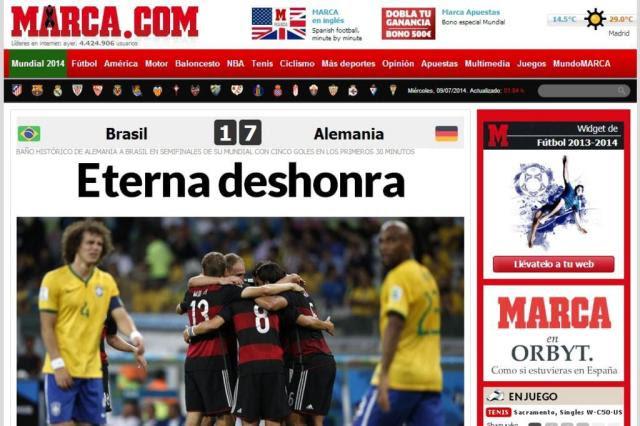 Confira o que os jornais mundo afora comentam sobre o vexame brasileiro Reprodução/