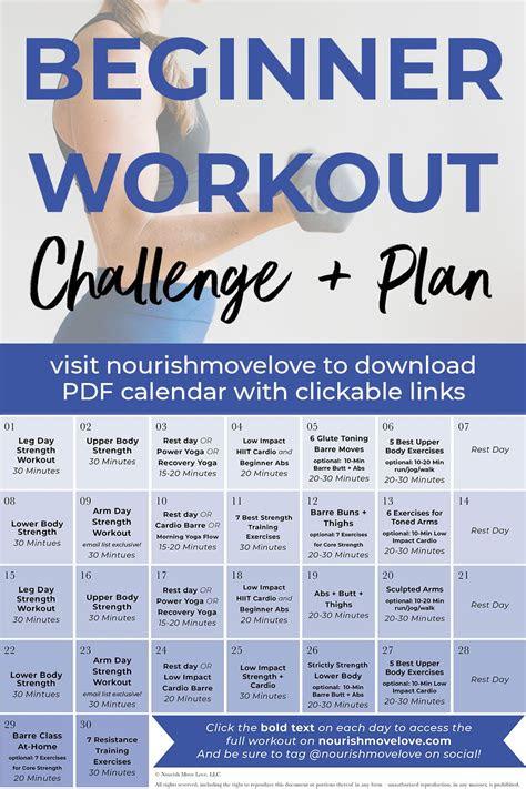 fitness challenge  day beginner workout plan nourish