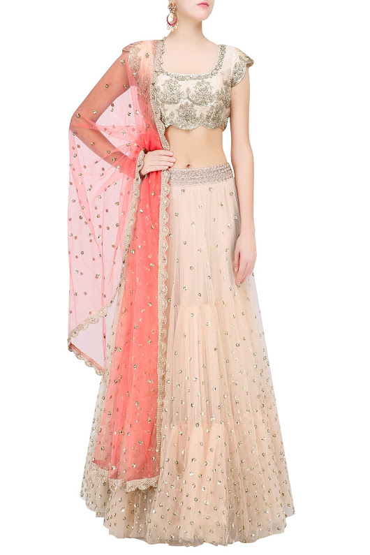 Off White Floral Sequins Embroidered Lehenga Set with Peach Dupatta - Frugal2Fab